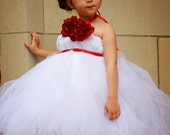 White and Red Flower Girl Tutu Dress with Matching Hair Clip