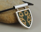 Beadwork and Sterling Silver Pendant Necklace - Calligrapha scalaris