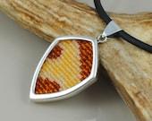 Beadwork and Sterling Silver Pendant Necklace - Apoda biguttata