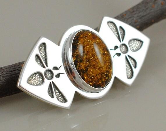 Honeybee Brooch - Sterling Silver and Amber - Saw Pierced