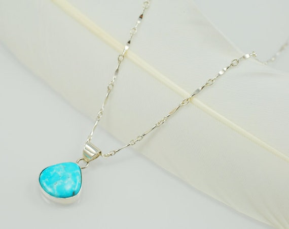 Dainty Turquoise Pendant Necklace with Dapped Bar Chain - Sterling Silver