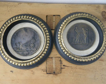 Two Vintage Greek/Roman Medallions mounted and Framed