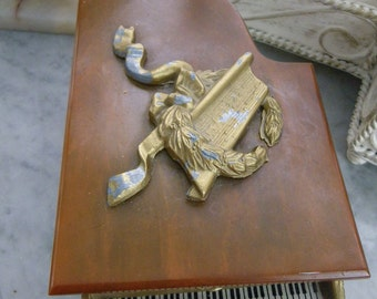 Brass Piano Jewlry Music Box with Celloloid Top