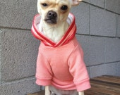 Dog Hoodie with Satin Ribbon in Peachy Pink Extra Small