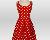 Handmade  Red & White Polka Dot Dress, in sizes 8-22