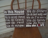 Family rules sign distressed 12x24 chocolate brown and cream  -  great gift idea