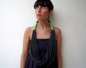 The tribal necklace - handmade in charcoal and lime green jersey fabric