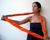 The linked noodles scarf - handmade in orange jersey fabric