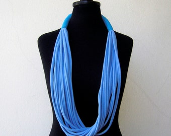 The tribal necklace - handmade in baby blue and calypso jersey fabric
