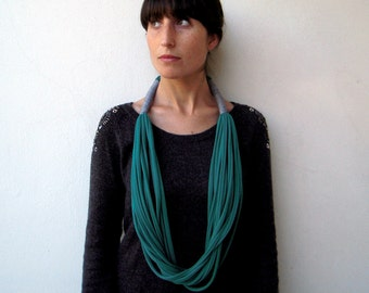 The tribal necklace - handmade in emerald and grey jersey fabric