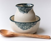 Teal Ceramic cream and Sugar Bowl by RossLab Tea Time Green