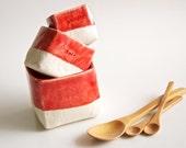 Salt and Pepper plus Sugar- Ceramic Cellars in Red Christmas Dinner
