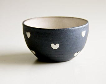 Black Ceramic Bowl White Black and White Hearts Pottery Mom Gifts for Her Wife Romantic Handmade Ceramics Ice Cream Cups RossLab