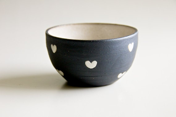 Ceramic Bowl in Black and White Hearts (made to order)