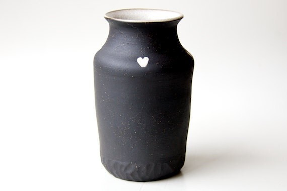 Ceramic Vase in Black and White Hearts