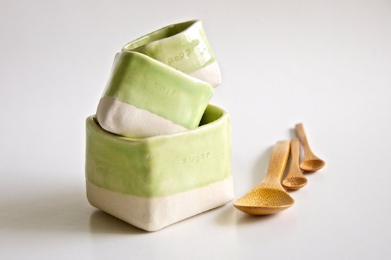 Ceramic Salt,  Pepper, and Sugar Cellars in Lime Green