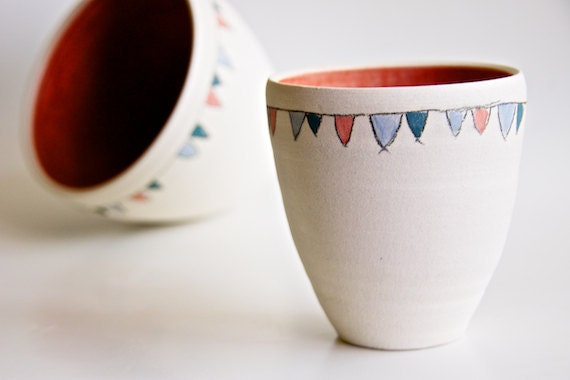 Ceramic Bowls in Coral- Flag Decoration in Teal, Coral, and Blue