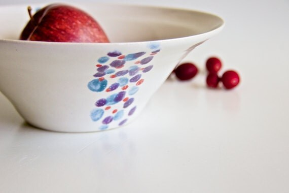 Ceramic Fruit Bowl with Polka Dots