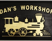 Custom Wood Carved Signs, Including, Clubhouse, Man Cave, Workshop, Trains, Car Signs and More