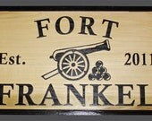 Large Exterior Kids or Childrens Fort Clubhouse Treehouse Sign with Name and Established Date Wood