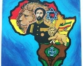 Africa Painting, Ethiopian Emperor Haile Selassie the 1st, Lion Of Judah