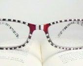 Diva III Handpainted Reading Glasses. 150 Strength Handpainted Reading Glasses. Red and Black Handpainted Reading Glasses.