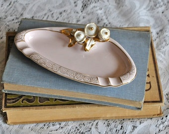 Vintage Lefton Ashtray - Pale pink and gold
