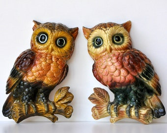 Vintage Lefton Owl Wall Hanging Plaques
