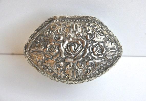 Vintage Silver Rose Jewelry Casket Box