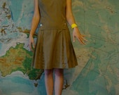 Tan Drop-waist Dress with White Piping and Monogram