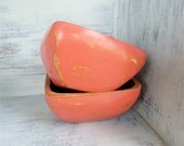 Pair of Shabby Chic painted Coral Wood Bowls