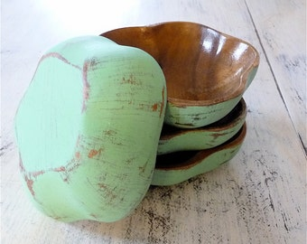 Seafoam Mint 50's Green Shabby Chic Vintage Monkey Wood Salad Bowl Set