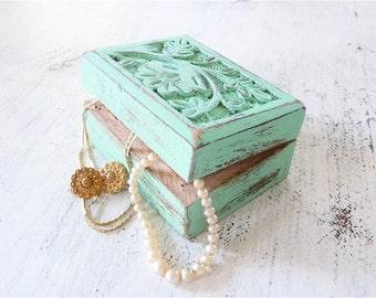 Shabby Chic Carved Wooden Trinket Box in Sea Foam Green