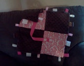 Minky Binky Tag Blanky in pink damask and brown minky