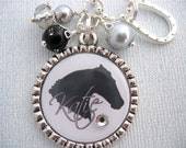Personalized HORSE Necklace Bottle cap BLACK Pendant Necklace Jewelry charm, Equine, Equestrian, Western riding, Gift Present, Mother Kids