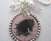 Personalized Horse Jewelry Brown Black Pendant EQUESTRIAN Jewelry Necklace charm Equine, Western riding Gift Present, Mother Kids