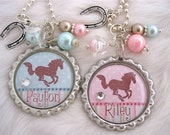 HORSE Jewelry Cowgirl Pink Blue Bottle cap polka dot Striped Necklace Horseshoe charm, Western Equestrian riding jewelry, Gift Present Kids