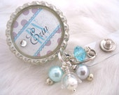 RETRACTABLE BADGE HOLDER Personalized Nurse Id Badge Reel Rn Np Lmt  Nicu Turquoise polka dot Midwife Jewelry Id Clip Medical teacher