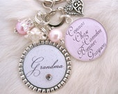 Personalized Mother Bottle cap Grandmother Jewelry Pendant Keychain,Children's Names Necklace, Nana, Mom, Wedding, Shabby Chic