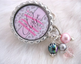 Personalized Nurse ID Badge Reel RN  Lmt  Nicu Grey Cheetah Print Pink Bottle cap Jewelry Necklace Holder Pull ID Clip, Medical teacher gift