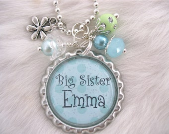 BIG SISTER Necklace Girls Necklace Personalized Name Gift Pendant Necklace, New Baby New mother Jewelry gift present  by My Blue Snowflake