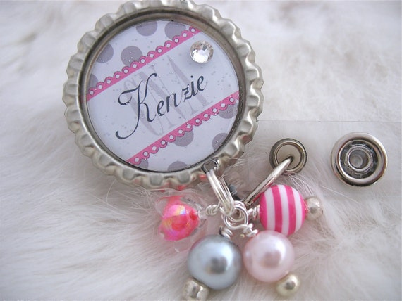 Hot Pink Personalized NURSE Id Badge Reel, Rn Cna Np Lmt, Nicu, BSN Bottle cap Jewelry Necklace,Pink Holder Pull ID Clip, Medical nurse