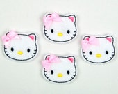 CAT - Embroidered Felt Embellishments / Appliques - White & Pink  (Qnty of 4) SCF6065