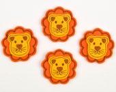 LION - Embroidered Felt Embellishments / Appliques - Orange & Goldenrod  (Qnty of 4) SCF6160