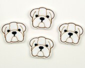 BULLDOG FACE - Embroidered Felt Embellishments / Appliques - White  (Qnty of 4) SCF6015