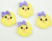 CHICK - Embroidered Felt Embellishments / Appliques - Pastel Yellow  (Qnty of 4) SCF1040
