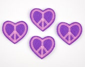 HEART PEACE Sign - Embroidered Felt Embellishments / Appliques - Purple & Pink  (Qnty of 4) SCF5500