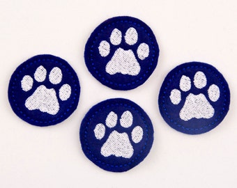 PAW PRINT - Embroidered Felt Embellishments / Appliques - Royal Blue & White  (Qnty of 4) SCF5760