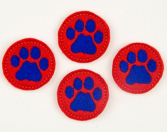 PAW PRINT - Embroidered Felt Embellishments / Appliques - Crimson Red & Royal Blue  (Qnty of 4) SCF5750