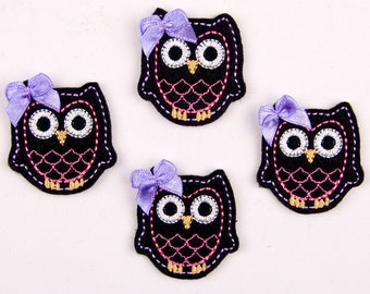 OWL - Embroidered Felt Embellishments / Appliques - Black, Pink & Purple  (Qnty of 4) SCF6500